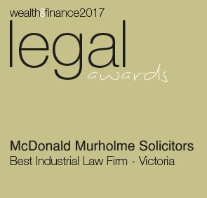 wealth & finance 2017 legal awards McDonald Murholme Solicitors Best Industrial Law Firm Victoria